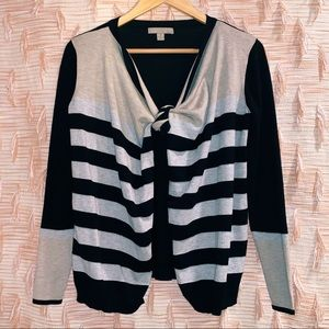 Kohl's One A Neutral Toned Striped Tie Cardigan